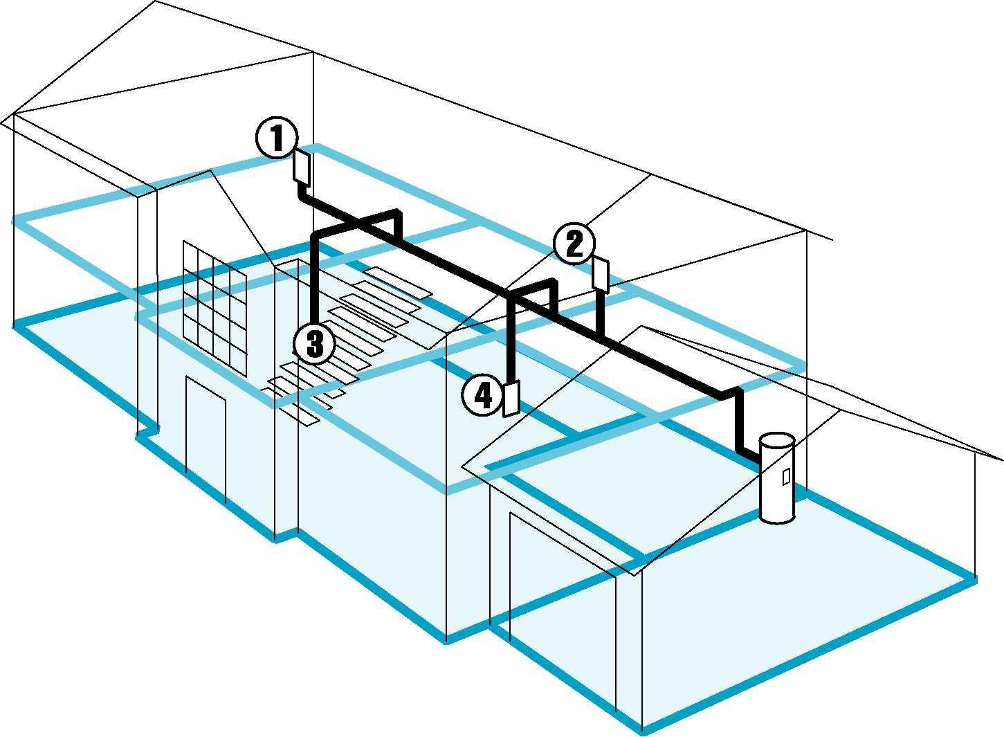 建筑3d管道结构示意图